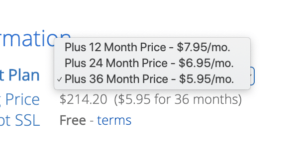 Bluehost Hosting Cost When You Pay for 36 months vs. 12 months